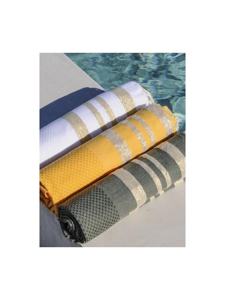 Ręcznik plażowy z lurexu Hamptons, Biały, odcienie złotego, S 100 x D 200 cm