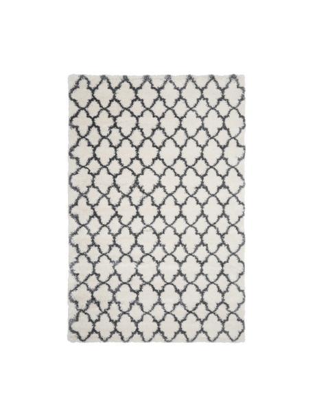 Hochflor-Teppich Mona in Creme/Dunkelgrau, Flor: 100% Polypropylen, Cremeweiß, Dunkelgrau, B 120 x L 180 cm (Größe S)
