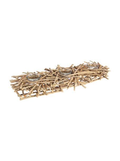 Komplet świeczników Recto, 4 elem., Transparentny, drewno naturalne, S 70 x W 10 cm