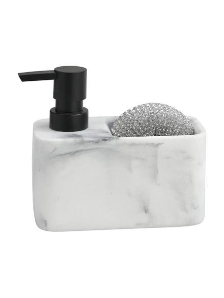 Zeepdispenser Galia met marmerlook met spons, 2-delig, Pompje: kunststof, Wit, gemarmerd, zilverkleurig, B 15 cm
