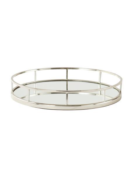 Ovaal decoratief dienblad Jemma, Frame: metaal, Plank: spiegelglas, Zilverkleurig, 38 x 6 cm