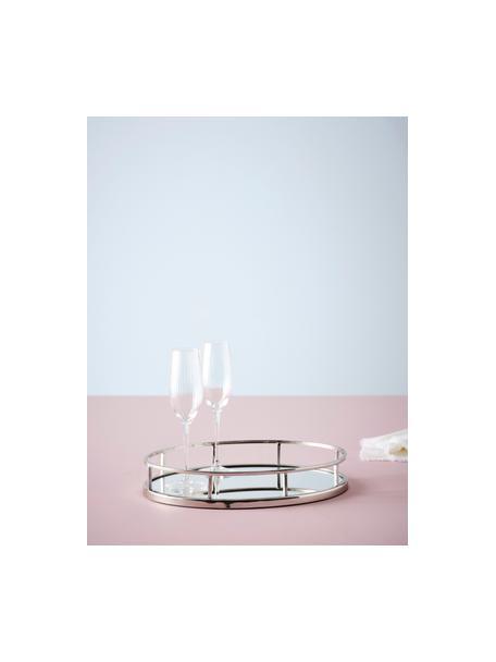 Ovaler Deko-Tablett Jemma, Rahmen: Metall, Ablagefläche: Spiegelglas, Silberfarben, 38 x 6 cm
