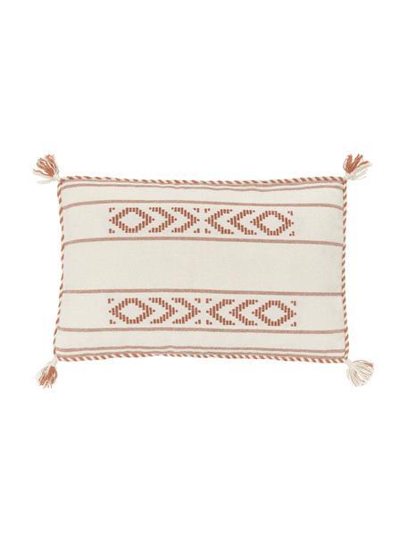 Poszewka na poduszkę z bawełny z chwostami Okiro, 100% bawełna, Beżowy, brzoskwiniowy, S 30 x D 50 cm