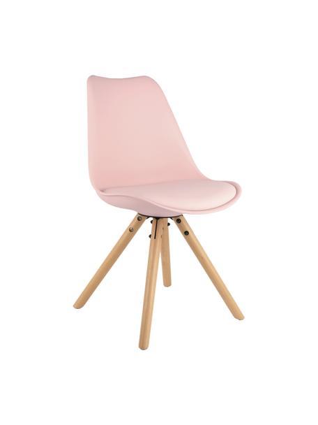 Krzesło z siedziskiem ze sztucznej skóry Max, 2 szt., Nogi: drewno bukowe, Blady różowy, S 46 x G 54 cm