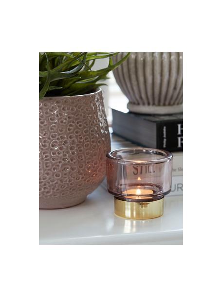 Handgefertigter Teelichthalter Miy, Glas, Rosa, transparent, Goldfarben, Ø 8 cm