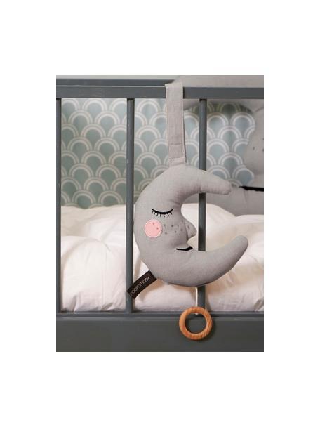 Handgefertigte Spieluhr Moon, Baumwolle, Öko-Tex- und OCS-zertifiziert, Grau, 14 x 16 cm