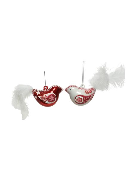 Adornos navideños Flora, 2uds., Adornos: vidrio, plumas, Rojo, blanco, An 8 x Al 5 cm