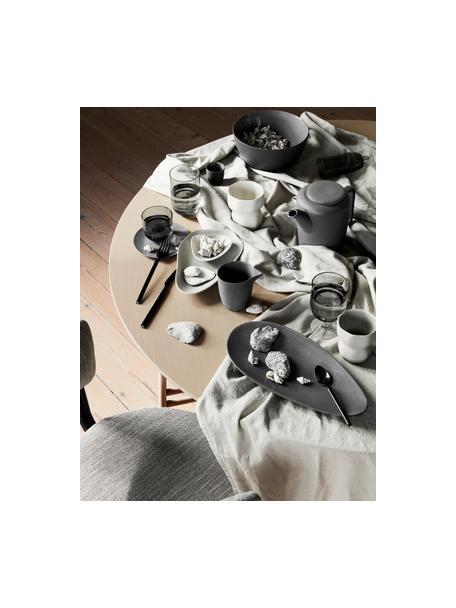 Plato llano ovalado de gres Limfjord, Gres, Gris antracita, L 32 x An 16 cm