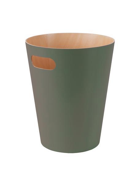 Cestino per la carta Woodrow Can, Legno verniciato, Verde oliva, Ø 23 x Alt. 28 cm