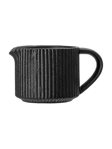 Melkkan Neri met groefstructuur in mat zwart, 200 ml, Keramiek Met groefstructuur en licht ruwe oppervlak, Zwart, Ø 8 x H 7 cm