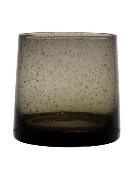 Wassergläser Lorea in Grau mit Lufteinschlüssen, 6 Stück, Glas, Grau, Ø 7 x H 8 cm