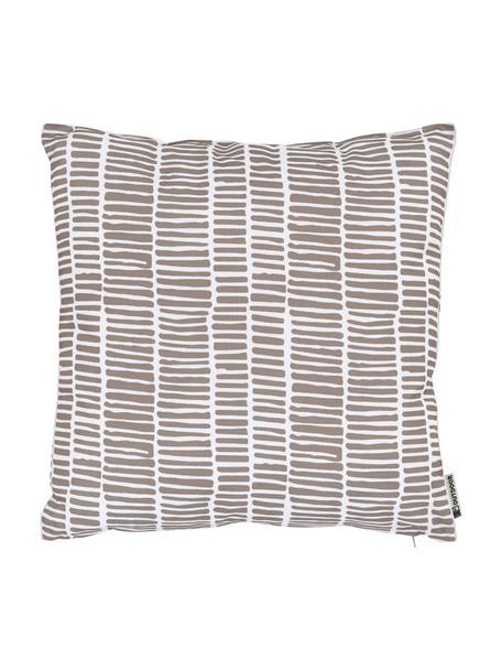 Outdoor kussen Little Stripe, met vulling, 100% polyester, Wit, taupe, 47 x 47 cm