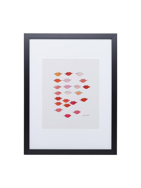 """Gerahmter Digitaldruck Kiss """"Andy Warhol Collection"""", Bild: Digitaldruck, Rahmen: Kunststoff, Front: Glas, Bild: Mehrfarbig Rahmen: Schwarz, 33 x 38 cm"""