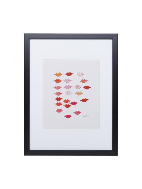 Ingelijste digitale print Kiss ''Andy Warhol Collection'', Afbeelding: digitale print, Lijst: kunststof, Afbeelding: multicolour. Lijst: zwart, 33 x 38 cm