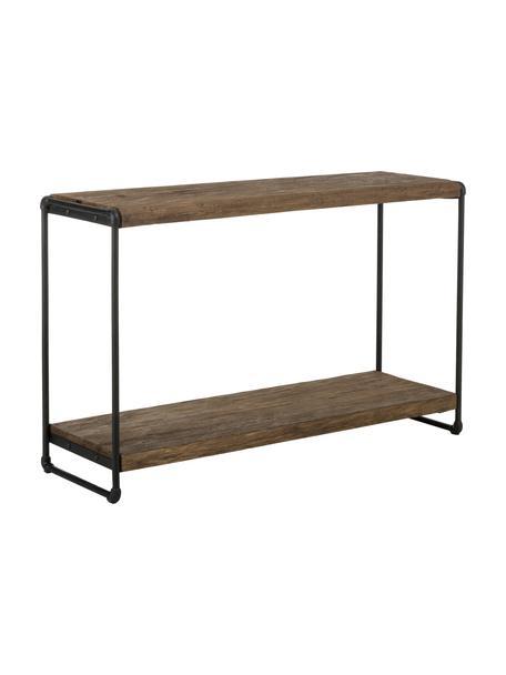 Consolle stile industriale Iron, Ripiani: legno di teak, finitura n, Struttura: metallo verniciato a polv, Teak, nero, Larg. 125 x Prof. 40 cm