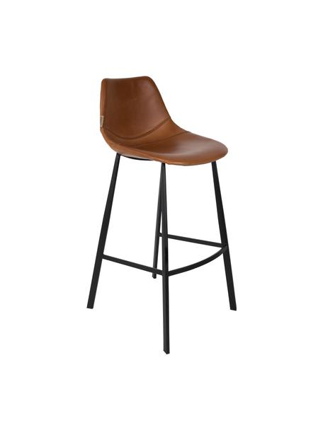 Kunstleren barstoel Franky, Bekleding: kunstleer (polyurethaan), Poten: gepoedercoat staal, Poten: zwart. Bekleding: bruin, 50 x 106 cm