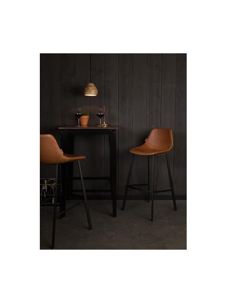 Krzesło barowe ze sztucznej skóry z metalowymi nogami Franky, Tapicerka: sztuczna skóra (poliureta, Nogi: stal malowana proszkowo, Nogi: czarny Tapicerka: brązowy, S 50 x W 106 cm