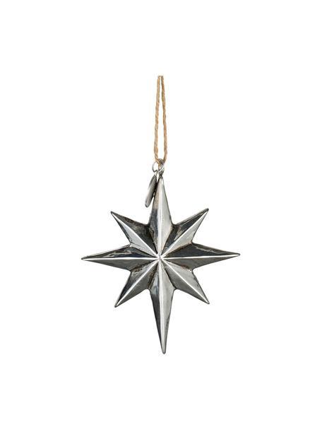 Handgefertigte Baumanhänger Serafina Star H 8 cm, 2 Stück, Silberfarben, 7 x 8 cm