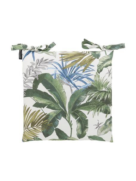 Stoelkussen Bliss met tropische print, waterafstotend, Crèmekleurig, groen- en blauwtinten, 45 x 45 cm