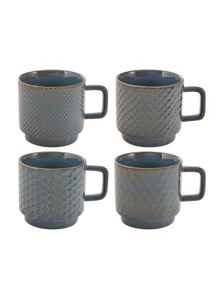Gemusterte Tassen Lara in verschiedenen Größen, 4er-Set, Steingut, Blaugrau, Braun, Ø 8 x H 8 cm