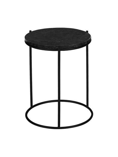 Mesa auxiliar redonda de mármol Ella, Tablero: mármol natural, Estructura: metal con pintura en polv, Mármol negro, negro, Ø 40 x Al 50 cm