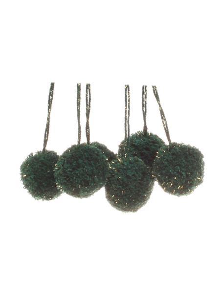 Pompon Lily 6 pz, Cotone con filo di lurex, Petrolio, dorato, Ø 4 x Alt. 13 cm