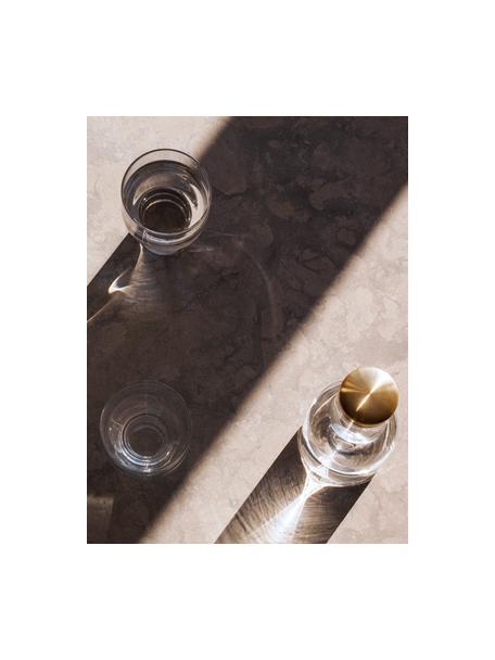 Karaf Deluxe in transparant met goudkleurig deksel, 1 L, Dop: vermessingd metaal, Transparant, H 29 cm