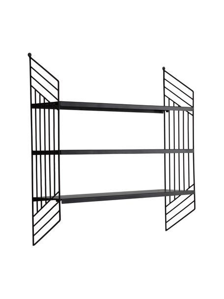 Metalen wandrek Willie in zwart, Gecoat metaal, Zwart, 61 x 61 cm
