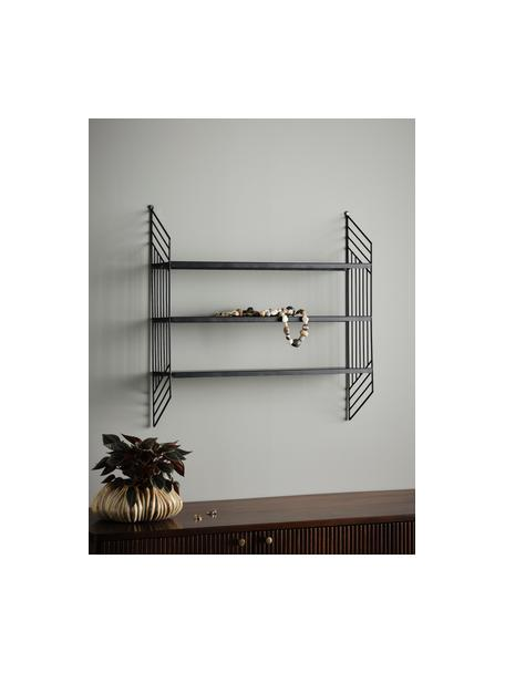 Estante de pared de metal Willie, Metal recubierto, Negro, An 61 x Al 61 cm