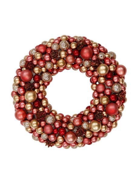 Wieniec świąteczny Festivity, Tworzywo sztuczne, styropian, Czerwony, odcienie złotego, Ø 25 x W 6 cm