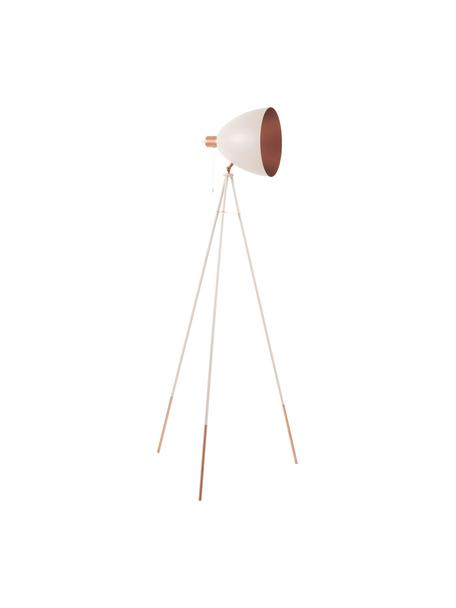 Tripod Leselampe Chester mit Kupfer-Dekor, Lampenschirm: Stahl, lackiert, Lampenfuß: Stahl, lackiert, Rosa, Ø 60 x H 150 cm