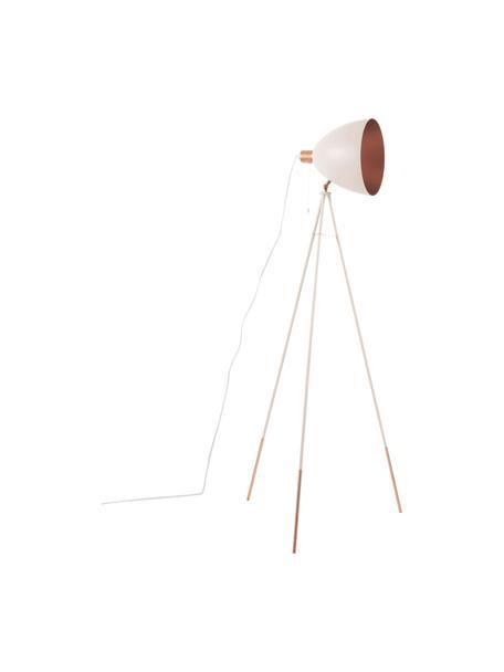 Tripod leeslamp Chester met koperen decoratie, Lampenkap: gelakt staal, Lampvoet: gelakt staal, Roze, Ø 60 x H 150 cm