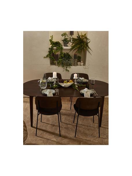 Mesa de comedor ovalada de madera maciza Archie, Madera de mango maciza pintada, Madera de mango, barnizado oscuro, An 200 x Al 100 cm