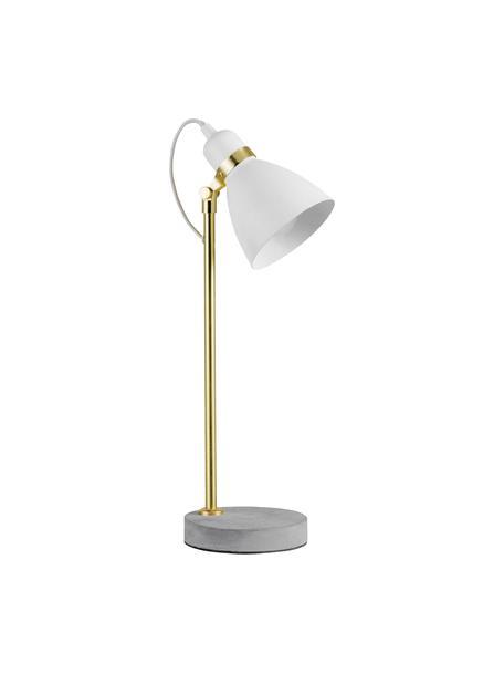 Lampada da tavolo retrò con base in cemento Orm, Paralume: metallo rivestito, Base della lampada: cemento, Bianco, ottone, grigio, Ø 15 x Alt. 50 cm