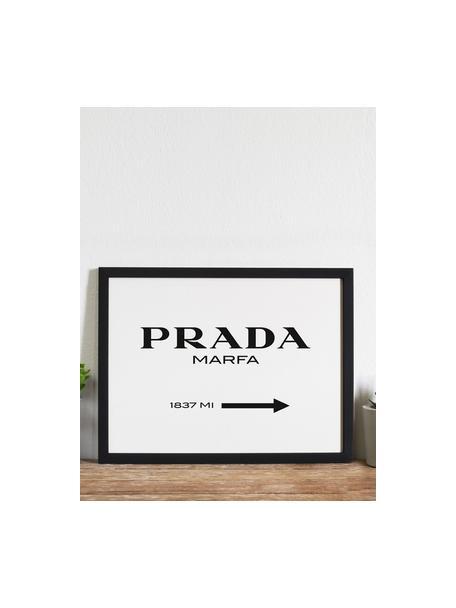 Gerahmter Digitaldruck Prada Marfa, Bild: Digitaldruck auf Papier, , Rahmen: Holz, lackiert, Front: Plexiglas, Schwarz, Weiß, 43 x 33 cm