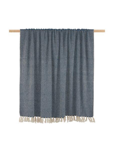 Fijn plaid Thea met franjes patroon, 58%katoen,22%polyester, 12%acryl,4%Rayon,4%nylon, Donker marineblauw, lichtbeige, 140 x 170 cm