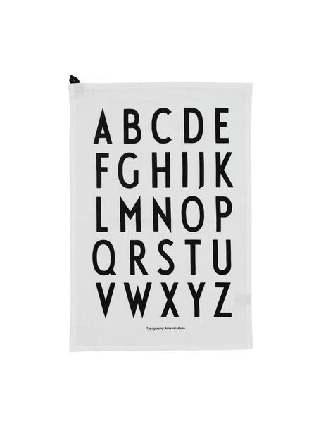 Katoenen theedoeken Classic in wit met design letters, 2 stuks, Katoen, Wit, zwart, 40 x 60 cm