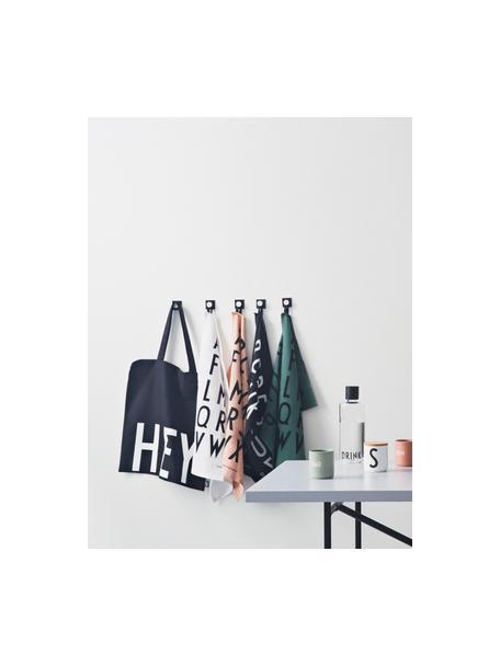 Baumwoll-Geschirrtücher Classic in Weiß mit Designletters, 2 Stück, Baumwolle, Weiß, Schwarz, 40 x 60 cm