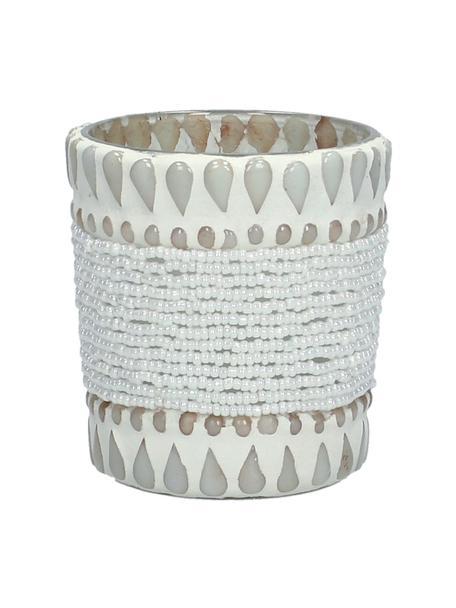 Teelichthalter Ive, Glas, beklebt mit Perlen und Steinen, Beige, Ø 7 x H 8 cm
