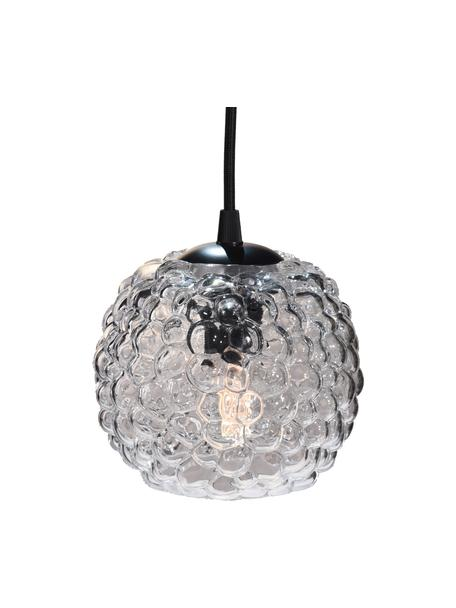 Hanglamp Grape, Lampenkap: mondgeblazen glas, Baldakijn: kunststof, Transparant, zwart, Ø 15 x H 13 cm