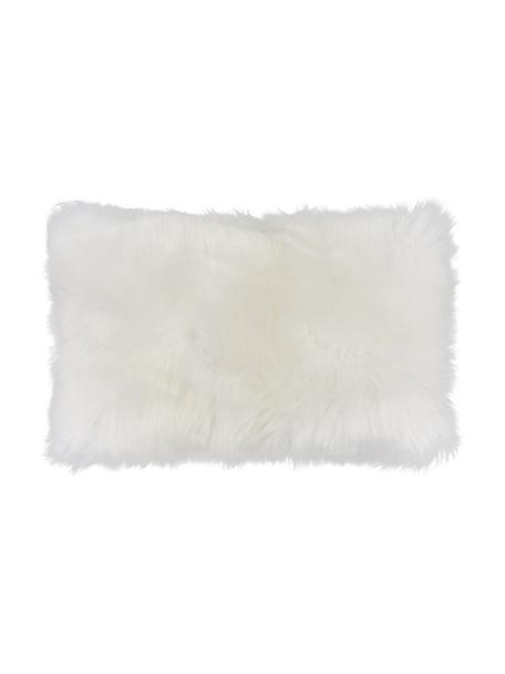 Schaffell-Kissenhülle Oslo in Cremeweiß, glatt, Vorderseite: Schaffell, Rückseite: Leinen, Cremeweiß, 30 x 50 cm