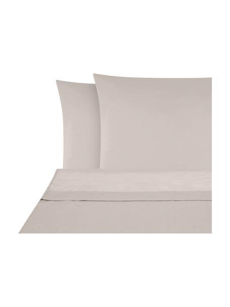 Set lenzuola in raso di cotone taupe Comfort, Taupe, 180 x 300 cm + 2 federe 50 x 80 cm