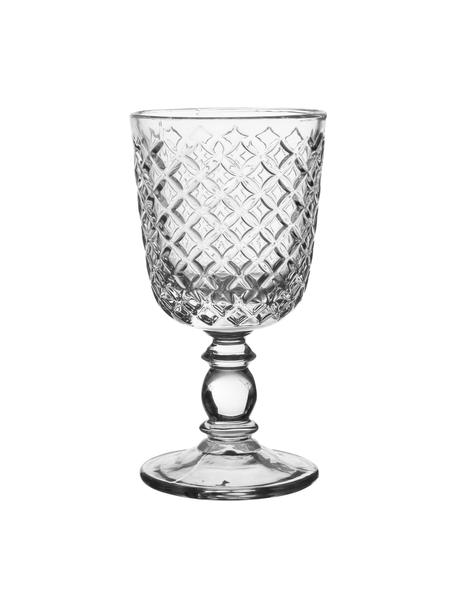 Weingläser Arlequin mit Relief im Landhausstil, 2er-Set, Glas, Transparent, Ø 9 x H 17 cm