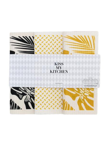 Set 3 panni assorbenti compostabili Malibu, 70% cellulosa, 30% cotone, Bianco, nero, giallo, Larg. 17 x Lung. 20 cm