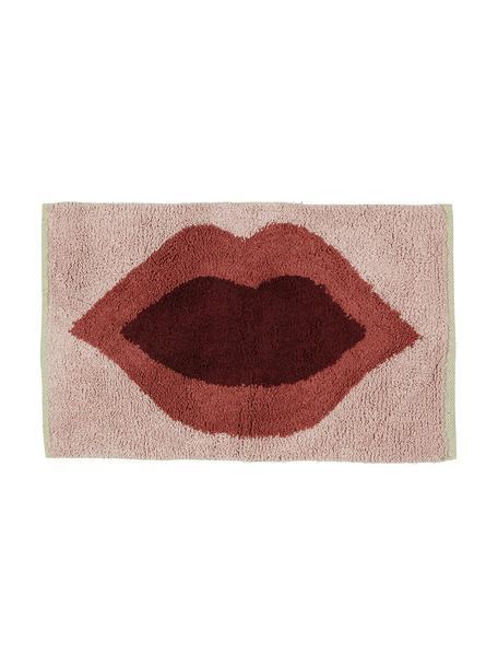 Dywanik łazienkowy Kiss, 100% bawełna Produkt posiada spód antypoślizgowy, Blady różowy, czerwony, ciemny czerwony, S 60 x D 90 cm