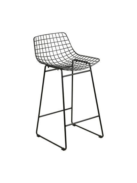 Sedia da bar in metallo nero Wire, Metallo verniciato a polvere, Nero, Larg. 47 x Alt. 89 cm