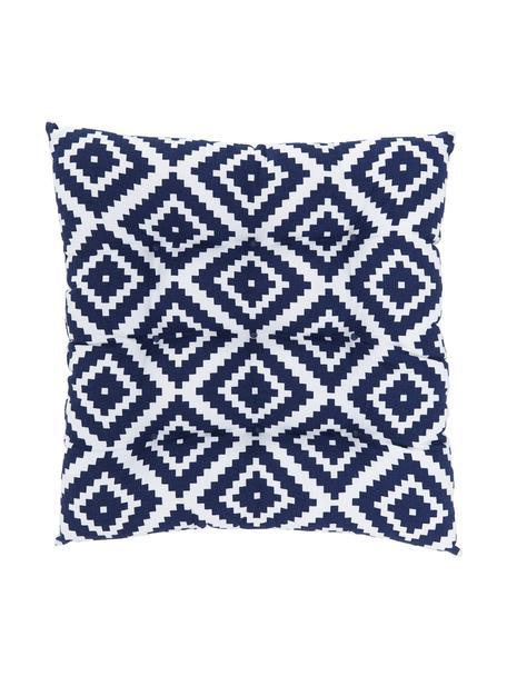 Cuscino sedia blu scuro/bianco Miami, Rivestimento: 100% cotone, Blu, Larg. 40 x Lung. 40 cm