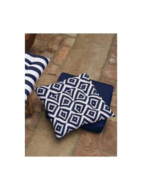 Sitzkissen Miami in Dunkelblau/Weiß, Bezug: 100% Baumwolle, Blau, 40 x 40 cm