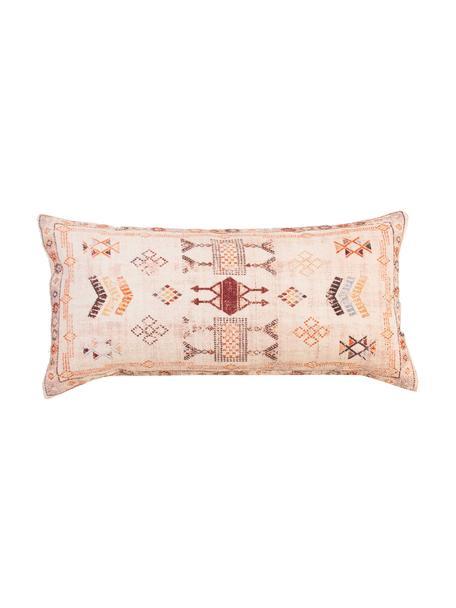 Kussenhoes Tanger met ethnopatroon in beige/rood, 100% katoen, Beige, roodtinten, 30 x 60 cm
