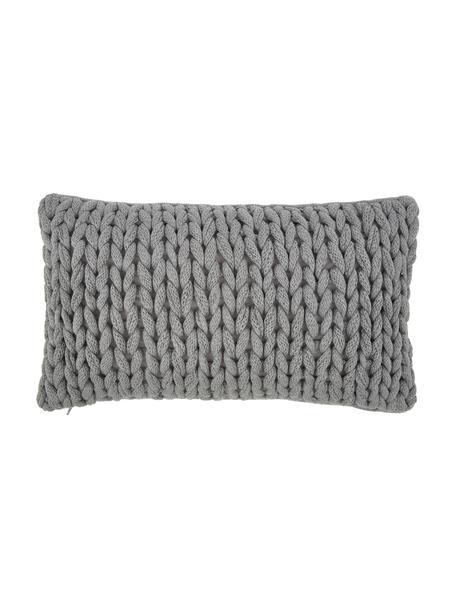 Ręcznie wykonana poszewka na poduszkę z grubej dzianiny Adyna, 100% poliakryl, Jasny szary, S 30 x D 50 cm